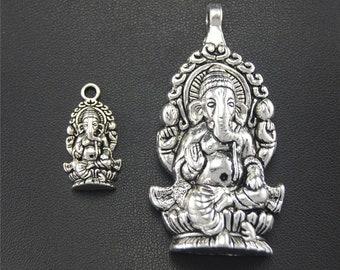10pcs Antique Silver Ganesh Charms Pendant A1777/A1778