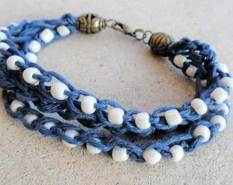 Handmade Crocheted Multistrand Blue Hemp Bracelet with White Beads By Distinctly Daisy