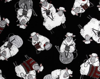 Sheep Knitting 100% Cotton Fabric by the Yard- Black Background