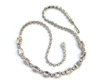 Vintage Mid Century Clear Rhinestone Choker Necklace Sparkling Emerald Cut Stones