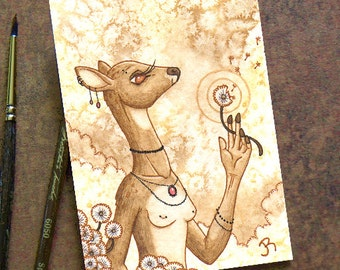 ACEO Original Fantasy Art- Wishes - Watercolor and Ink ACEO Painting by Jessica Rohr - Fantasy Anthro Deer Art