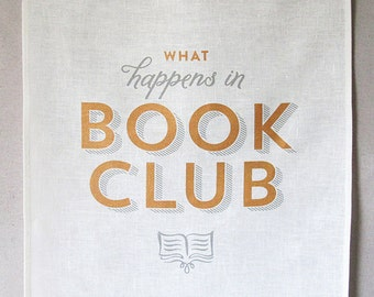 book club linen tea towel