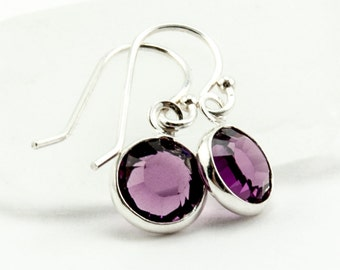 February Birthday Earrings - February Birthstone Earrings - Amethyst Crystal Earrings - February Birthday Gift Purple Jewelry Jewellery