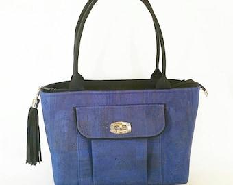 MTO - Blue cork shoulder bag
