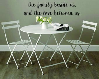 Vinyl Wall Word Decal - Bless the Food Before Us, the Family Beside Us, and the Love Between Us - Home Decor - Wall Word