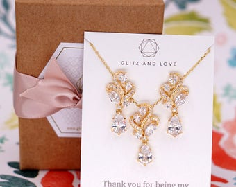 Gold Wedding Bridesmaid Gift Bridal Earrings Necklace Bracelet Jewelry Set Clear White Cubic Zirconia Teardrop Ear Stud  E304 N222