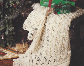 Vintage Crochet Winter White Afghan instant download crochet pattern