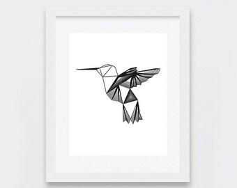 Hummingbird Art Print, Black and White Art Print, Geometric Bird Illustration Art Print, Nature Minimalist Art, Instant Download Printable