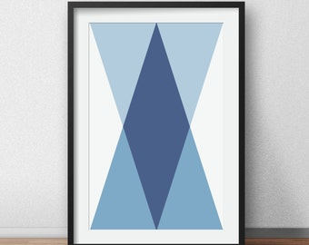 Triangle Art, Geometric Print, Blue Navy Triangle,  Geometric Triangle Art, Blue Triangle, Navy Triangle, Blue Wall Print