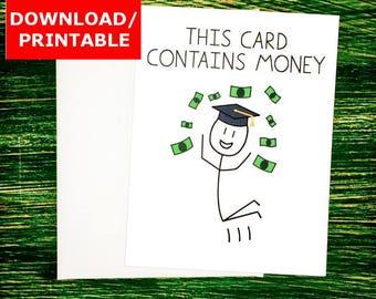 PRINTABLE Graduation Card Funny Jumping Grad Printable Funny Graduation Cards for Money Holder Digital Card Last Minute Funny Card Download
