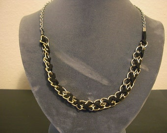 mixed metal leather braid necklace