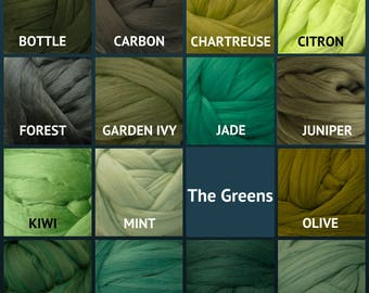 Merino Wool Roving - Felting Fiber - Spinning Fiber - The Greens - sold by the ounce