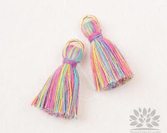 T002-CO-LR// Multi Light Rainbow, Cotton Tassel Pendant, 4pcs, 23mm