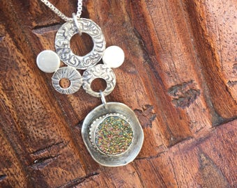 Druzy in Sterling Silver Organic Form Circle Pendant Green and Yellow