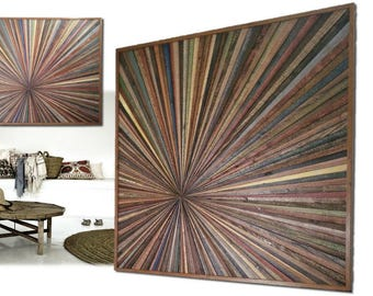 Reclaimed Wood Wall Hanging Art Sculpture Starburst Large Colorful Transistional Rustic Modern Farmhouse Abstract Infinity Point Unique Gift