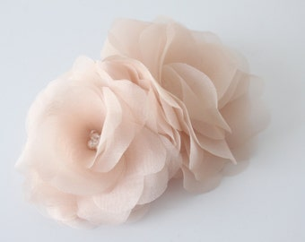 Silk Flower Headpiece, Bridal Headpiece, Organza Flower Headpiece, Bridal Flower Fascinator, Silk Organza Hair Flower, Silk Flower Headpiece