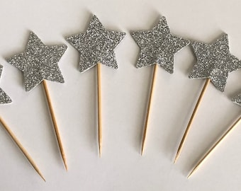 """12 Silver Glitter Star Double Sided Cupcake Toppers Cake Centerpieces Party Picks 1 1/2"""" Wide"""