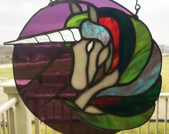 Majestic Stained Glass Unicorn Window, Suncatcher