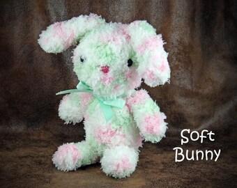 Soft Bunny - small, stuffed, crochet bunny rabbit with ribbon