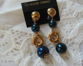 Fabulous large  1980s clip on earrings deep blue and gold dangle