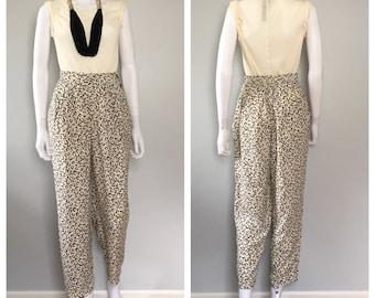 Vintage 1990s leopard print pants / high wasit trousers
