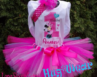 1st Birthday Minnie Mouse Shirt + Tutu Outfit Pinks and Aqua (any age)