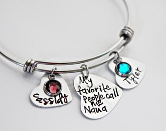Custom Bracelet, Personalized Bangle, Mothers Jewelry, Grandmothers Bracelet, Charms Bangle, Grandma Favorite People Bracelet