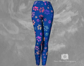 Paw Print Leggings Blue Printed Dog Paw Leggings Tights Blue Yoga Pants