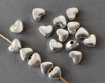 20pcs-5mmX4mm-small silver heart beads, Antique silver tone space beads