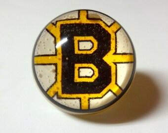 Boston Bruins Ring - Hockey Ring - Bruins Ring - Boston Bruins Jewelry - Boston Bruins - Bruins - Snow Globe Illusion Ring - Dome Ring