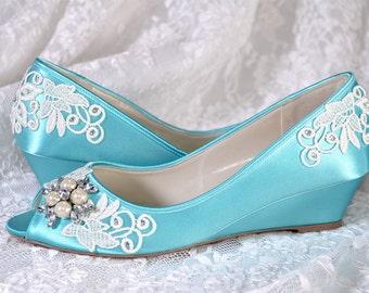 Lace Wedge Wedding Shoes - Custom Colors 120 - Women's PBP101.75 Bridal Wedge Shoe, Pink2Blue Shoes