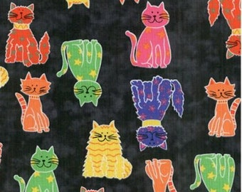 Fat Quarter Cat's Meow Black Printed Cotton Quilting Sewing Fabric