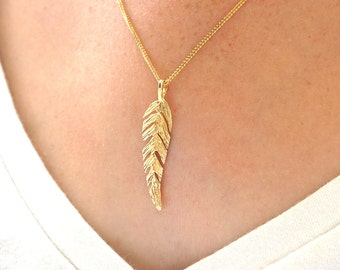 14K Gold Necklace, Feather Pendant, Solid Gold Pendant, 14K Gold Feather, Gold Feather Pendant, Feather Charm, Mothers Day Sale