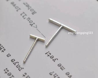 10 pieces (5 pairs) 925 sterling silver stick stud bar earring