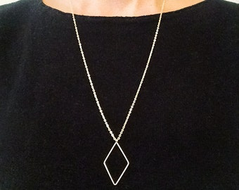 Rhombus necklace, long necklace, geometric necklace, rhombus pendant, gold plated necklace, minimal necklace, simple necklace, SHAPES