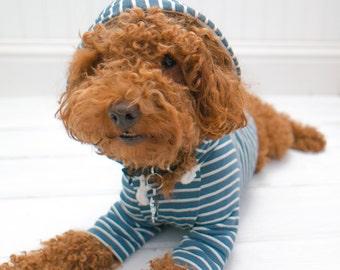 Dog Clothes, Blue Green Stripe Hoodie with Pom Pom and Pocket