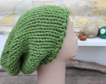 Large Slouchy Hat Slouchy Beanie Hand Knit Hat Chunky Knit Slouchy Hat Grass Green Slouchy Big Hair Hat Slouchy The Pelly Big Beanie Hat