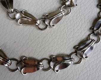 Necklace and Bracelet Vintage silver 800 vine leaves