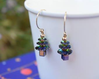Tiny small Christmas tree Swarovski vitrail crystals 14K gold filled hook earrings