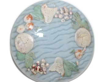 Button - Porcelain Hand Painted Border Design  - Medium