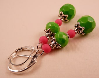 Crystal Earrings Beaded Earrings Silver Earrings Crystal Jewelry Silver Jewelry Beaded Jewelry Pink Earrings Pink Jewelry Green Earrings