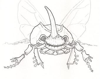 Printable Skeletal Bug Ink Drawing from Inktober