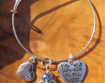 BROTHER - You Are Always in my Heart - Adjustable Bangle Bracelet - Personalize -Choose any Birthstone Angel