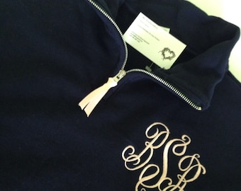 Quarter Zip Pullover, Monogrammed Pullover with Quarter Zip - Monogram Sweatshirt, Monogram Pullover Personalized