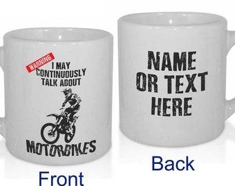Motorbike Motocross Off-Road Endurance Funny Personalised MX Dirt Bike Biking Mug - Personalised with a message.