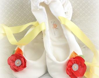 Wedding Ballet Flats,Coral,Yellow,Wedding Flats,Ballet Slippers,Flower Girl Flats,Wedding Shoes,Bridal Shoes,Garden Wedding Flats,Elegant