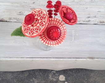 3 shades of red button flower bottle bouquet