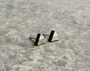 Mountain Earrings // Painted Beetle Kill Pine