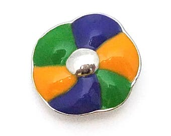 1 PC - 18MM Mardi Gras King Cake Charm for Snap Jewelry Shop Exclusive CC3880
