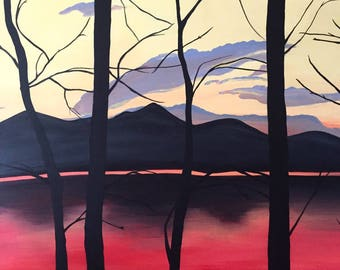"""Lost Lake by Jessica Merritt   36"""" x 36"""" Signed Original Acrylic Painting on Canvas   Contemporary Painting   Mountain Art   Colorado Art"""